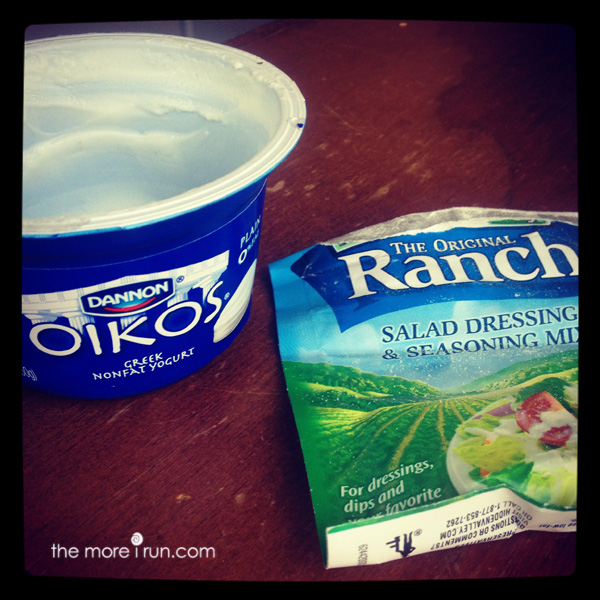 Greek Yogurt + Ranch Dressing Packet makes a great substitute for mayo and other dipping sauces!