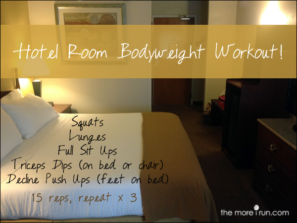 An on the go, hotel room bodyweight workout.