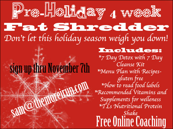 Don't let the holiday season weigh you down!  Sign up today for the 4 Week PreHoliday Fat Shredder!