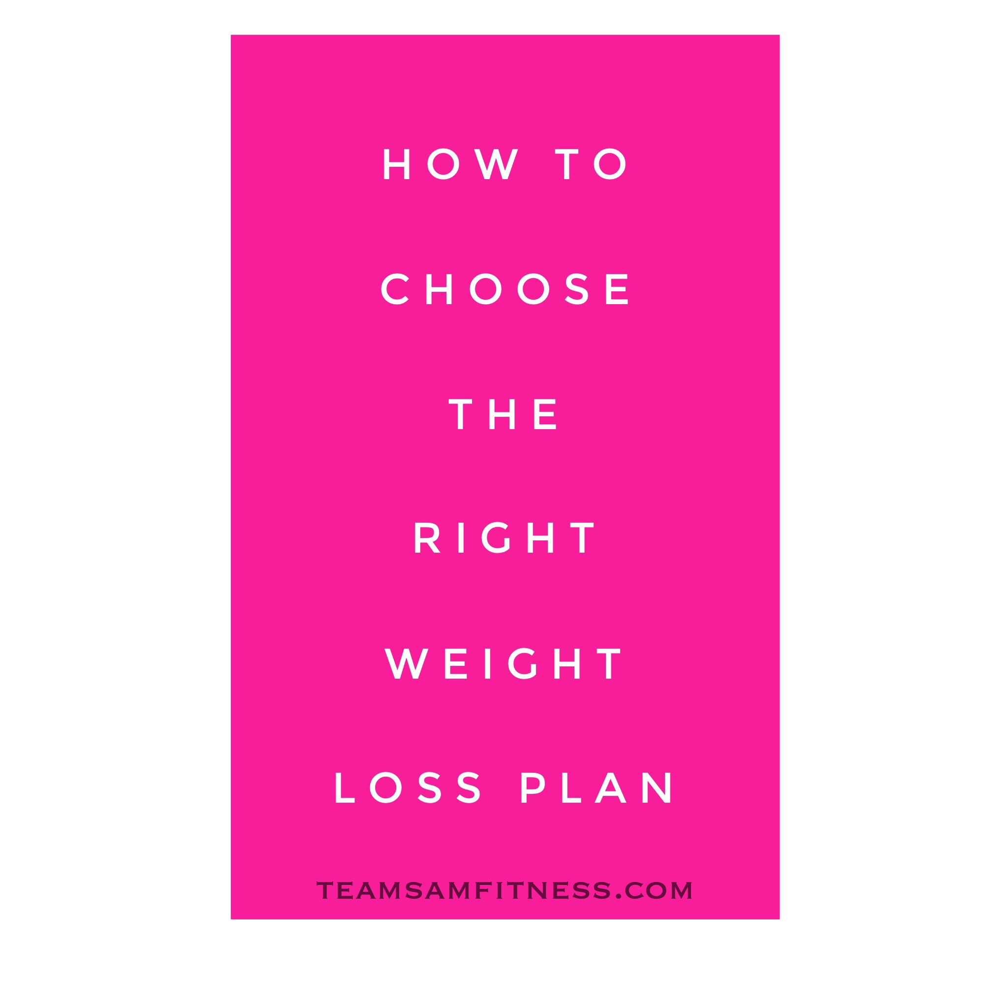 How to Choose the Right Weight Loss Plan
