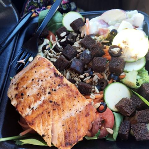 Take out doesn't have to be through a drive up window. I went inside and ordered this salad and salmon to go!