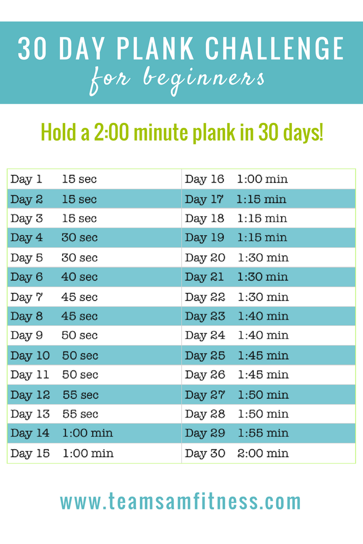 30 Day Plank Challenge ~ hold a 2:00 minute plank in 30 days