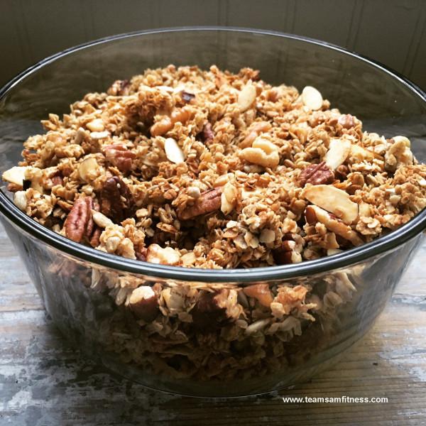 Homemade gluten free coconut oil granola.