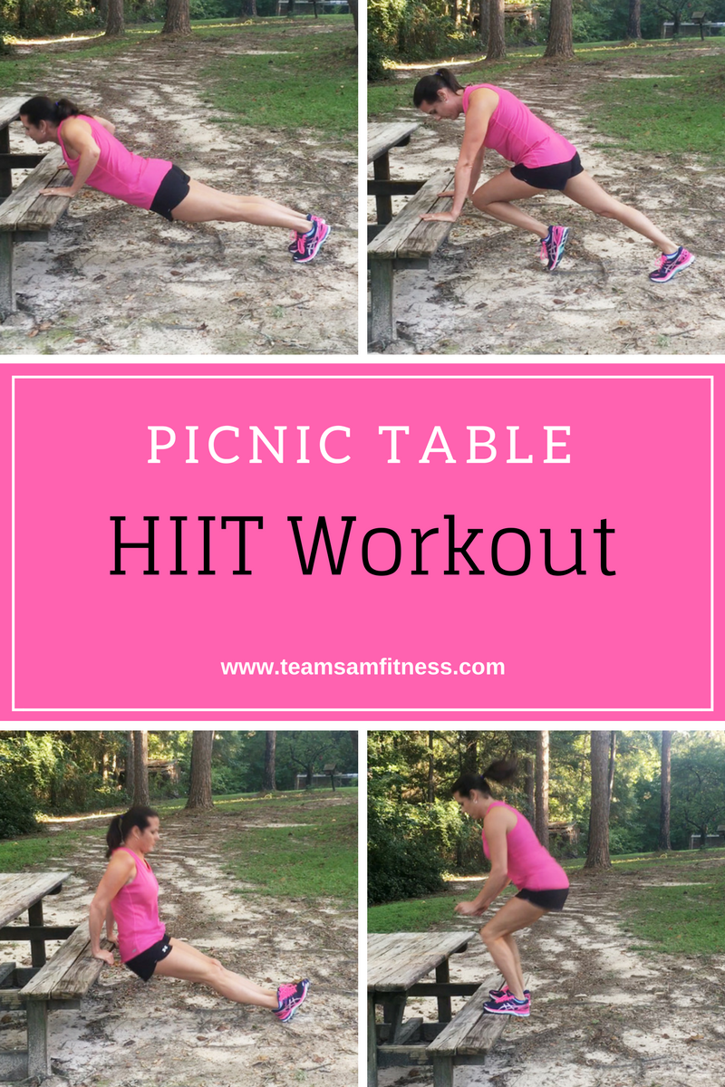 A HIIT workout you can do on a picnic table!