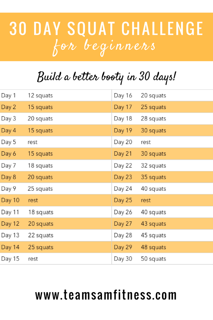 30 Day Squat Challenge -Build a better booty, increase strength, metabolism and burn fat!